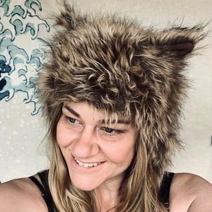 Faux fur cat hat with Pom poms